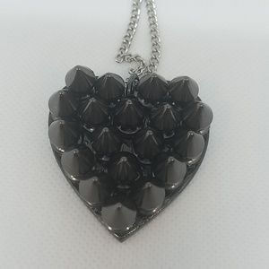 Gun metal spike heart necklace small new